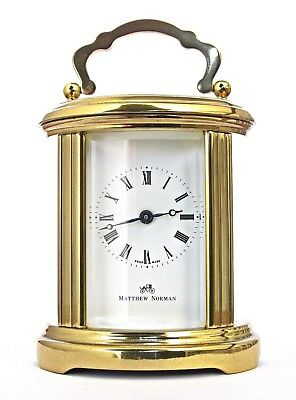 Rare Miniature Matthew Norman Oval Gilt Carriage Clock Swiss, Serviced 11 Jewels