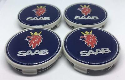 4x Saab Wheel Center Caps Alloy Logo Badge Emblem Center Hub Cap Set 63mm Blue