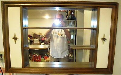Vintage retro Mid Century Modern wall art mirror backed shadow box shelf