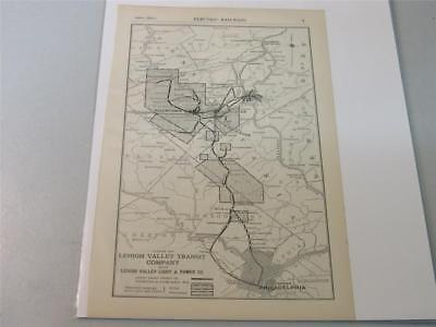 Original Vintage Map of Lehigh Valley Transit Company  from 1914