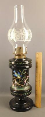 Antique French Victorian  Painted Enamel Black Glass Birds Dragonfly Oil Lamp