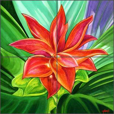 Floral Tile Backsplash Agudelo Tropical Flower Art Ceramic Mural FAA025