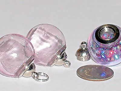 Wide Mouth Glass Crystal Ball Bottle fairy vial Screw top Globe Orb Barbie Pink