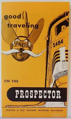 Denver & Rio Grande Western Railroad / 1950s Prospector Good Traveling Brochure