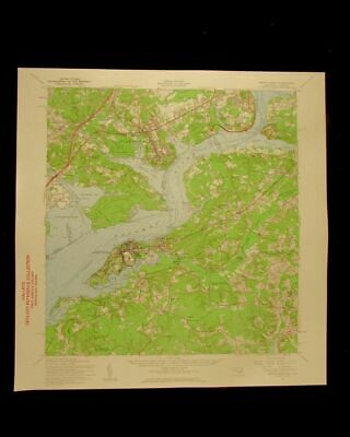 Indian Head Potomac river Maryland Virginia vintage 1961 USGS Topo coast chart