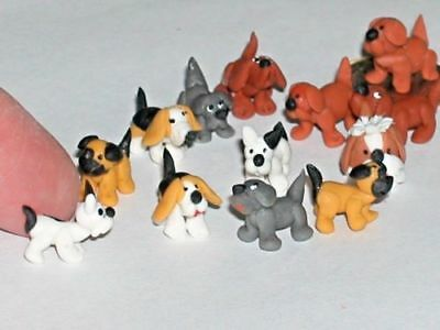 1 miniature dollhouse ity bity Tiny little clay Dog loose locket animal mini*NEW