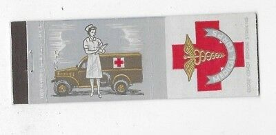 WWII Matchbook Cover ARMY MEDICAL CORPS Nurse Ambulance #735