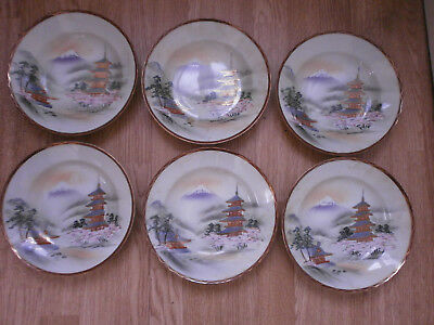 6 Kutani hand painted orched soup plates