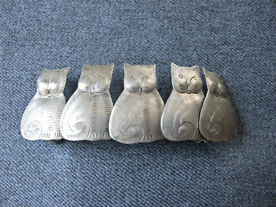 Vintage 5 cats kittens engraved silvered metal oversized hair barrette France