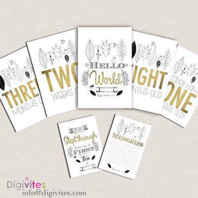 Baby Milestone Cards, Baby Boy Moments & Milestones, Shower, Announcement, Gold