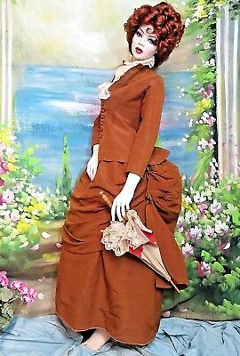 Original ANTIQUE Victorian era BUSTLE back DRESS rust FAILLE 2 piece SET c1880