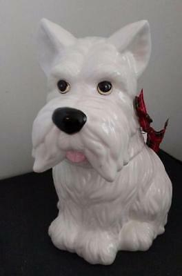 White Wheaten Scottie Scottish West Highland Terrier Dog Ceramic Cookie Jar
