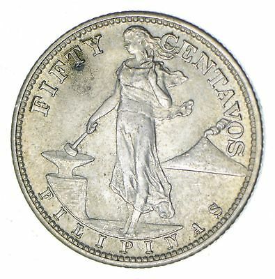 1944 Philippines 50 Centavos - Silver World Coin - 10 Grams! *193