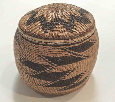 Fine ANTIQUE Native California HUPA Lidded Indian BASKET with Provenance MINT
