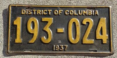 District of Columbia 1937  license plate # 193 - 024