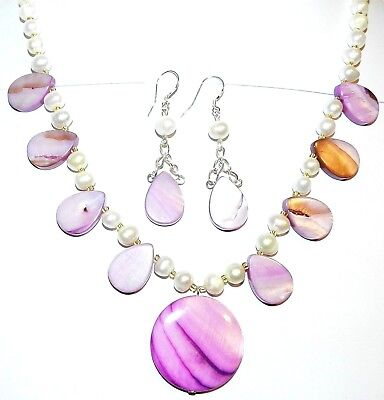 "GN293 Lilac Mother of Pearl Shell & White Pearl w Silver 18"" Necklace & Earrings"