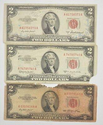 Lot (3) Red Seal $2.00 US 1953 or 1963 Notes - Currency Collection *288