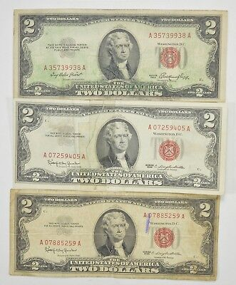 Lot (3) Red Seal $2.00 US 1953 or 1963 Notes - Currency Collection *286