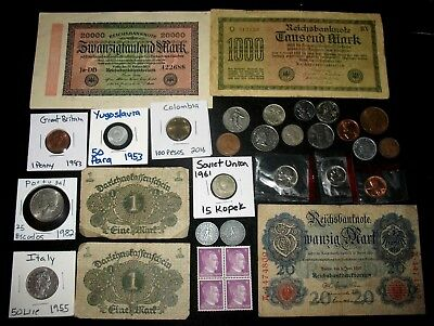 2 German Coins With Swastikas, Banknotes, Stamps, Foreign Coins! Usa Coins! #691