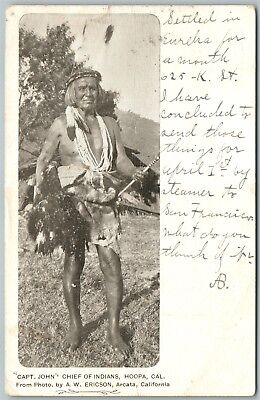 Indian Chief Capt. John Hoopa Ca 1906 Antique Postcard Private Mailing Card