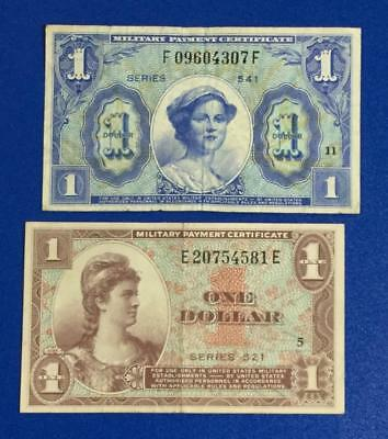 Military Payment Certificates $1 Set of 2! Series 521 & 541! Harder to Find MPCs