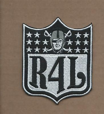 New 3 1/4 X 4 Inch Oakland Raiders 4Life R4L Shield Iron On Patch Free Shipping