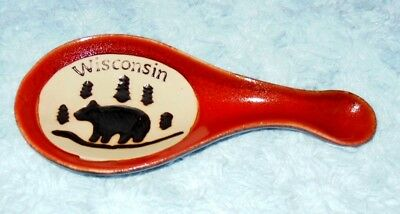 Pottery WISCONSIN Bear & Pines Spoon Rest Holder VGC FREE US SHIP