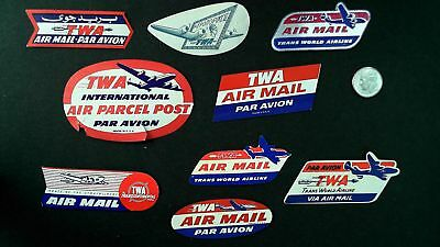 lot of 9 vintage Airline Airmail labels TWA