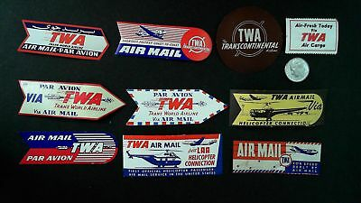 lot of 10 vintage Airline Airmail labels TWA