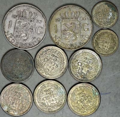 Netherlands Lot of 10 Silver Coins