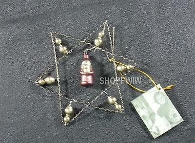 """Bethany Lowe 5""""  Wire Krinkle Star Ornament with Santa"""