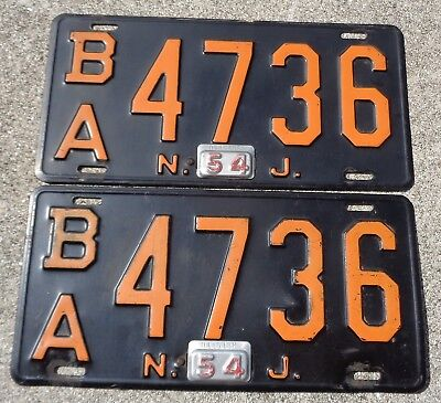 New Jersey 1954  license plate pair # B/A  4736