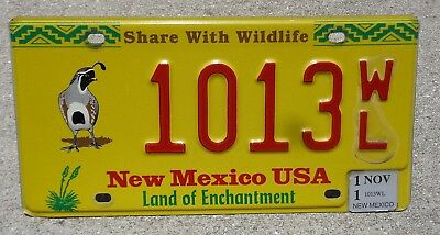 New Mexico Share with Wildlife Quail license plate #  1013