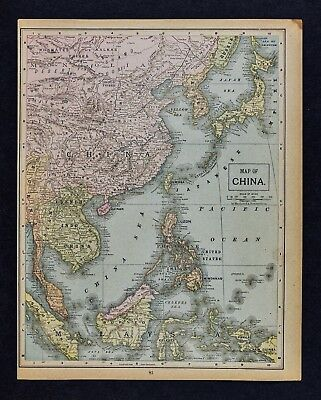 1892 Crowell Kirkpatrick Map China Japan Korea Philippine Vietnam Hong Kong Asia