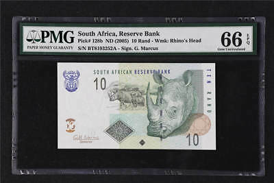 2005 South Africa Reserve Bank  10 Rand Pick# 128b PMG 66 EPQ Gem UNC