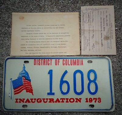 District of Columbia 1973 Inauguration  license plate #  1608    + registration