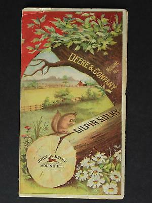 JOHN DEERE & COMPANY 1890s VICTORIAN TRADE CARD of GILPIN SULKY PLOW~