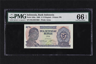 1968  Indonesia Bank Indonesia 2 1/2 Rupiah Pick# 103a PMG 66 EPQ Gem UNC