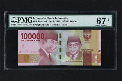 2016/2017 Bank Indonesia 100000 Rupiah Pick#Unlisted PMG 67 EPQ Superb Gem UNC
