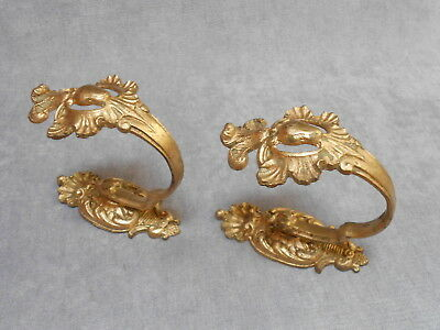 Pair of  French Antique BRONZE Curtain TIEBACKS HOOKS  LOUIS XV style