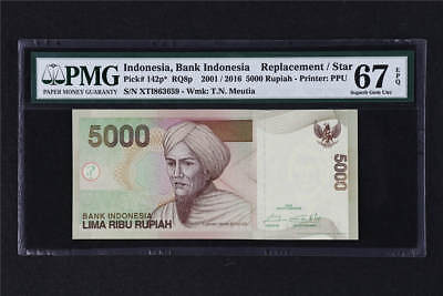 2001/2016 Indonesia Bank Replacement 5000 Rupiah Pick#142p* PMG 67 EPQ Gem UNC