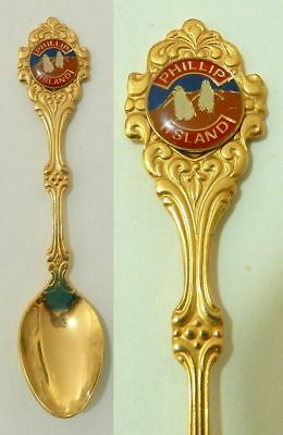 PHILLIP ISLAND GOLD PLATED SOUVENIR SPOON - Very Nice