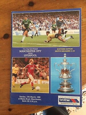 MANCHESTER CITY v LIVERPOOL F.A CUP 6th ROUND PROGRAMME 1987/88