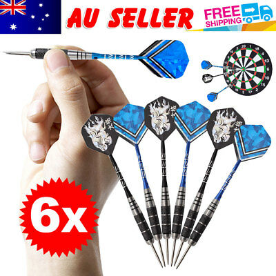 6 pcs of Steel Tip Stainless Barrel 22g Aluminium Darts Nice Carving Shaft