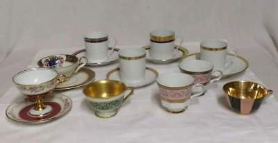 Beau Lot de 10  TASSES collection  LIMOGES / BAVARIA réhaut or / art de la table