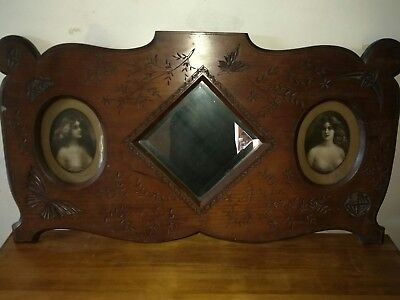 Late 1800's antique Cedar Chip Art carved mirror - Sir Donald Swanson family