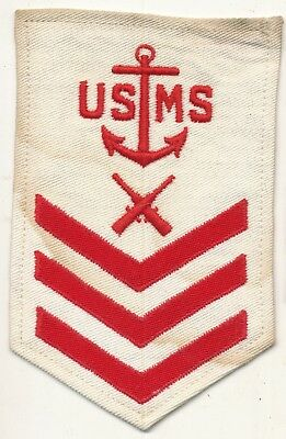 USMS PO1 rate WWII red on white cloth patch Gunner's Mate Merchant Marine