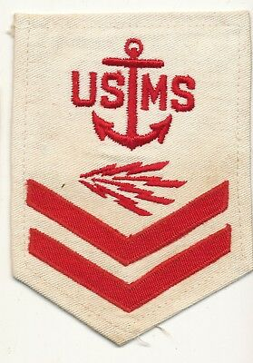 USMS Po2 rate WWII red on white cloth patch Radioman Merchant Marine
