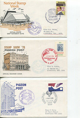 Australia special FDC cover - Pigeon Post - 1974-76-78 Adelaide Stamp Shows