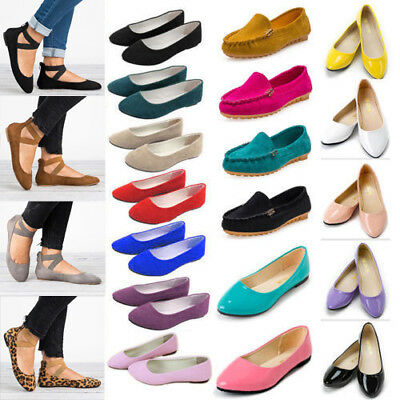 Womens Ballerina Ballet Flat Pumps Dolly Pointed Toe Slip On Loafers Boat Shoes